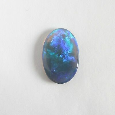 AUSTRALIAN BLACK CRYSTAL OPAL 2.53CT 13.9x9.3  LIGHTNING RIDGE NATURAL SOLID