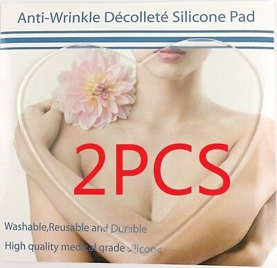 2pcs Anti-Wrinkle/Ageing Neck Chest Transparent Silicon Decollete Wrinkles Pads