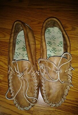 Vintage brown Leather TAOS Native American Indian Moccasins Men's Size 9.5M