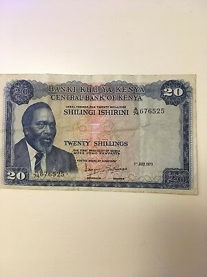 Central Bank Kenya  20 Shillings 1973  Banknote foreign currency