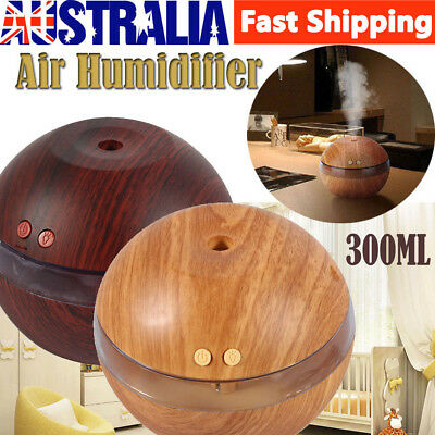 300ML Ultrasonic Air Humidifier LED Essential Aroma Diffuser Purifier Glow