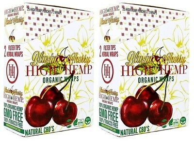 High Hemp Blazin Cherry Organic Wraps 2 Box 50 Pouch (100 Wraps) NON GMO