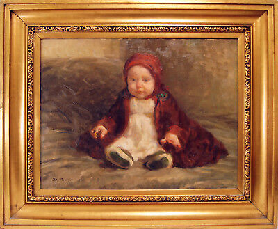 Baby with Red Robe by Julius Paulsen (Denmark), Signed & Dated 1920 Oil / Canvas