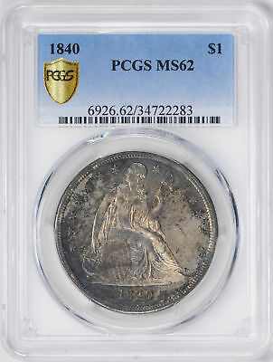 1840 Liberty Seated S$1 Pcgs Ms 62