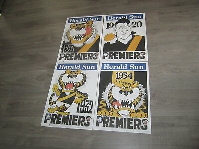 Weg Poster Set Richmond Tigers X 4 1920 ~1934 Premiership All Same Number