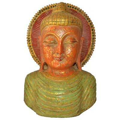 Antique Wooden Buddha Bust For Home Decor
