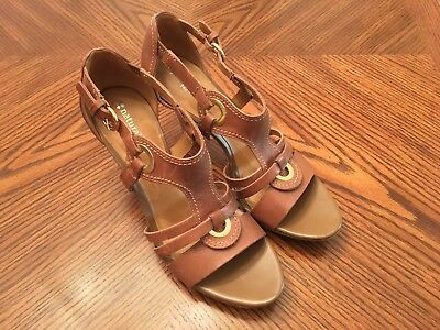 ec32a8fe8a3e New NATURALIZER N5 Comfort Dalena Tan Leather High Heel Sandals Size 39 US  8N