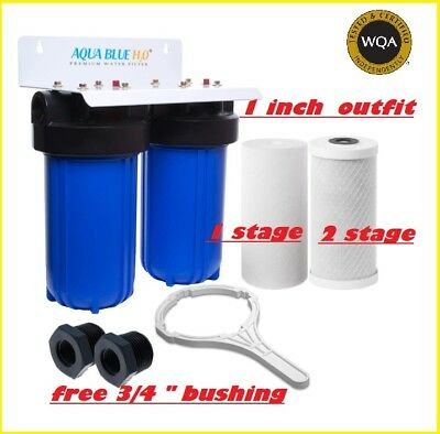 """10"""" x 4.5"""" Twin Big Blue Whole House Water Filter System 2 stages 304SS Bracket"""