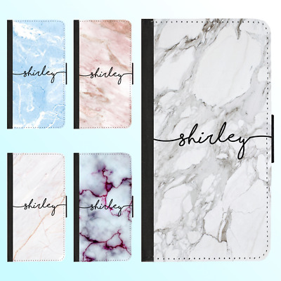 Galaxy S10 Plus S10e S9 S8 S7e Wallet Case Marble IV Personalised Initial Name