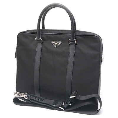 19d1278f08ab Authentic PRADA Nylon × Calf Briefcase Business Bag with Strap 2VE368 Black
