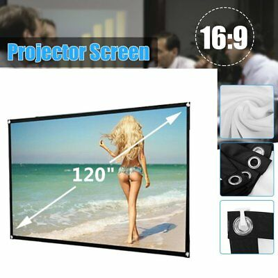"""120"""" Inch Projector Projection Screen 16:9 White Matte 3D HD Home Cinema TheatHY"""