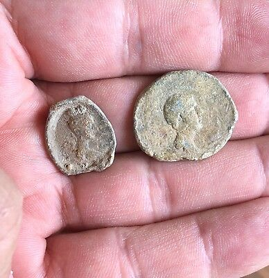 Lot Of 2 Roman Lead Tessera.