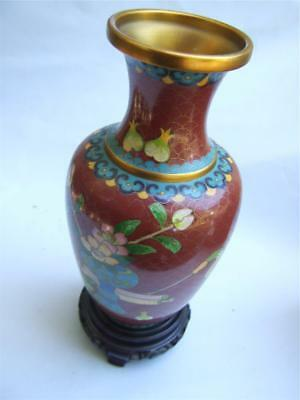 Vintage 10'' Chinese Cloisonne  Gilt Vase on Carved Stand w Floral Design
