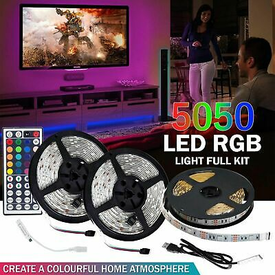 10M 5M 5050 RGB SMD LED Strip Light 44Key Remote Controller Power Supply Adapter