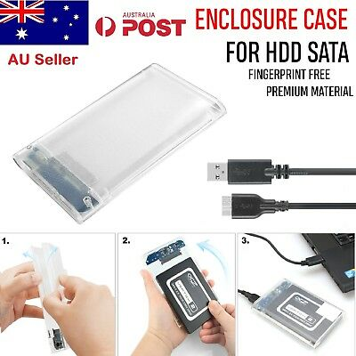 "Transparent 2.5"" USB 3.0 SATA SSD Hard Disk Drive HDD Enclosure Case Box"