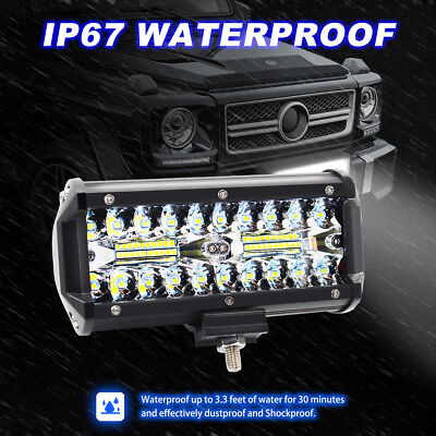 Pair 7inch CREE LED Work Light Bar Spot Flood OffRoad Driving 4WD 4x4 Reverse