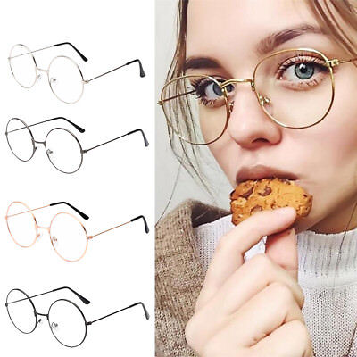 Womens Mens Large Metal Frame Clear Lens Round Circle Eye Glasses Vintage Retro