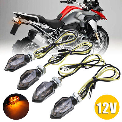 4x Mini Motorcycle Smoke Lens 5LED Turn Signal Blinker Indicator Light Amber