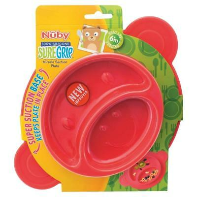 Nuby SureGrip Miracle Section Plate - 100% Silicone - Super Suction Base