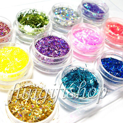 Nail Art 12 Color Golden Yellow Hot Pink Lace Powder Glitter Dust Additive Gel