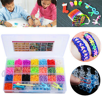 Large Rainbow Loom Band Storage Kit Bands Board Looms Hooks Clips Charm DIY SET