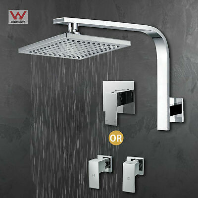 """Square Shower Head 8"""" Brass Gooseneck Wall Arm Mixer Hot cold Taps Chrome WELS"""