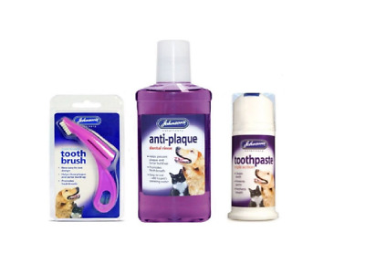 Johnsons Pet Dental Care - Toothpaste - Toothbrush - Anti-Plaque - Dog & Puppy