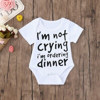 980382dbda93a CUTE SUMMER NEWBORN Baby Boys Girls Funny Letter Print Romper Jumpsuit  Clothes