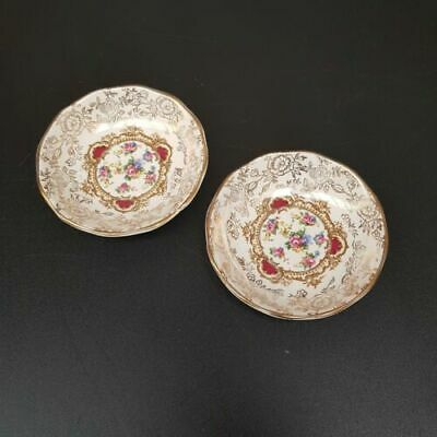 Vinatge James Kent Staffordshire OLD FOLEY Pompadour - Pair of Small Dishes 9cm