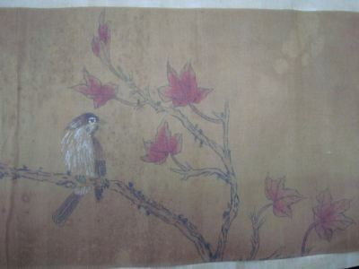 Very Long Old Chinese Scroll Hand Painting Flowers Birds Marks