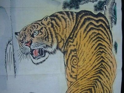 Very Long Rare Chinese Paper Painting Tiger with Mark