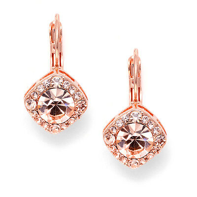 Mariell Solitaire Drop Euro Wire Earrings with Clear Crystals, Rose Gold Plating