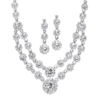 Mariell Silver Rhinestone Necklace and Earrings Set for Prom, Pageant & Brides