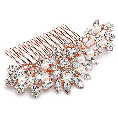 Mariell Rose Gold Pearl and Crystal Sunburst Wedding, Bridal or Prom Hair Comb