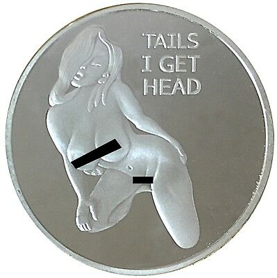 Pin Up Girl Silver Mirror Head Tail Lucky Challenge Coin US SELLER FAST SHIPPING