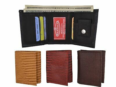 Kids Small Genuine Leather Trifold Photo Money Snake Patter Wallet Gift NEW