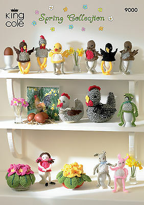 King Cole Pattern 9000.  Spring Collection - Hens, Egg Cosies,pot Of Primulas