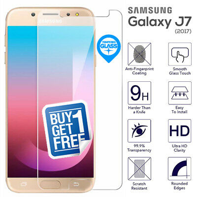 2 x For Samsung Galaxy J7 2017 Tempered Glass Screen Protector Film Cover J730F
