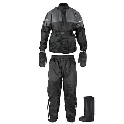 Rain Suit Waterproof Motorcycle Motorbike 4 pc Jacket Trousers Gloves Boots