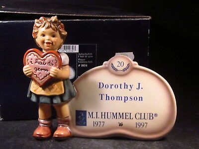 Goebel Hummel Hum 717 VALENTINE GIFT PLAQUE w/ Box 20yr Club Piece