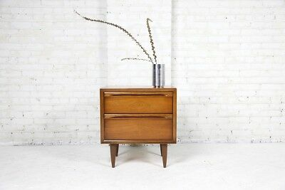 mid century modern 2 drawer nightstand