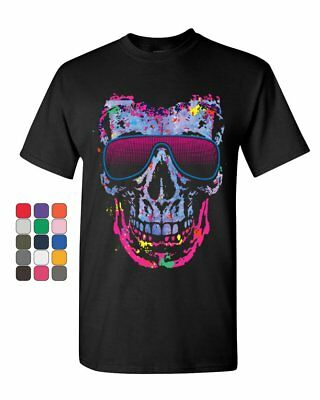 MELTING SKULL Tank Top T Shirt Beater ~ Neon Colorful Skulls Tee ~ Party Rave