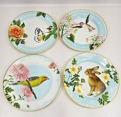 4 Williams Sonoma Floral Meadow Butterfly Salad Dessert Plates S//4 NIB