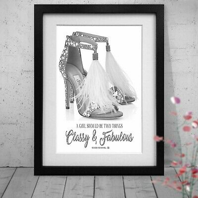 Silver Ostrich Feather Jimmy Choo Coco Chanel Quote Print A5 A4 A3 A2 Size NEW