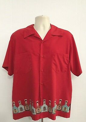 Casino Wear Los Angeles Men's SS Button Front Cabo Wabo Tequila Shirt Red Large