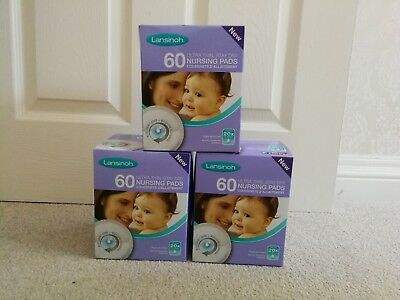 3 Packs of Lansinoh 60 Ultra Thin Stay Dry Nursing Pads Breastfeeding Supplies