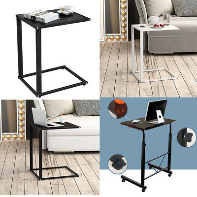Small Computer Desk Sofa Table Laptop Holder Bed Side Desk Stand Wheels Roll UK