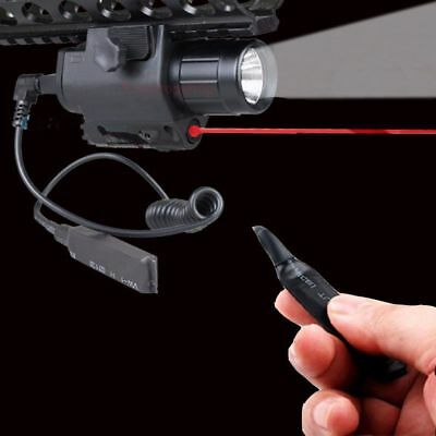 Tactical CREE LED Flashlight+Red Laser Sight Combo For Handgun 20mm Rail Hunting