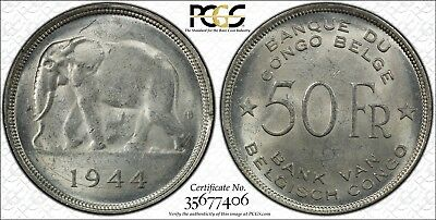 1944 Belgian Congo 50 Francs PCGS MS-61 KM# 27 Uncirculated
