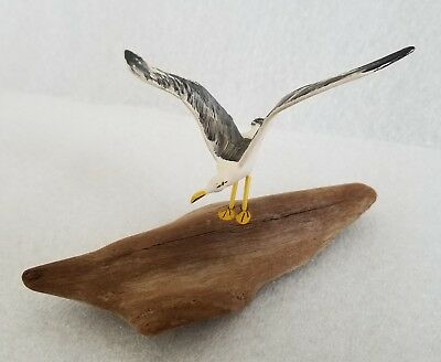 Seagull Sea Bird Figure Standing on Log Hand Carved Hand Painted Sculpture Art